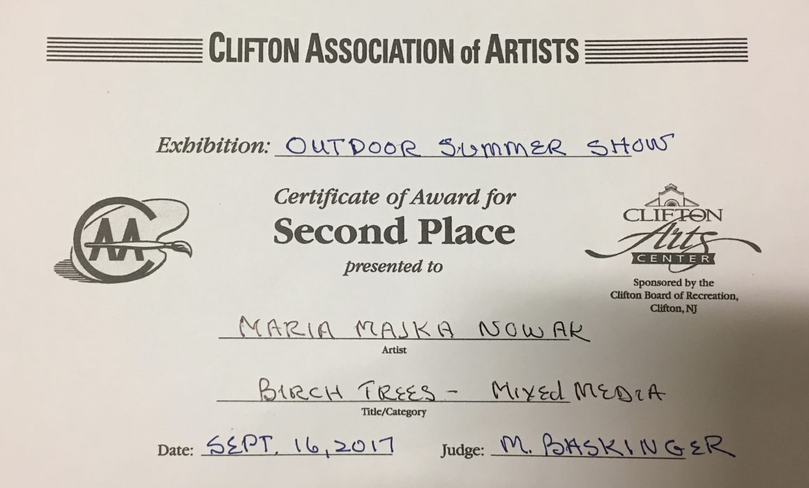 Clifton Art Center - Second Place Sept-16-2017